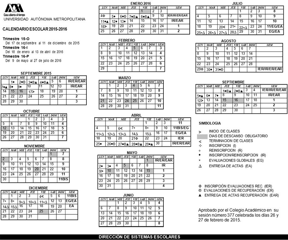 UAM. Universidad Autónoma Metropolitana. Calendario