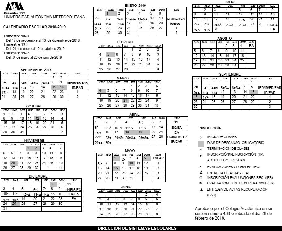 UAM. Universidad Autónoma Metropolitana. Calendario escolar.