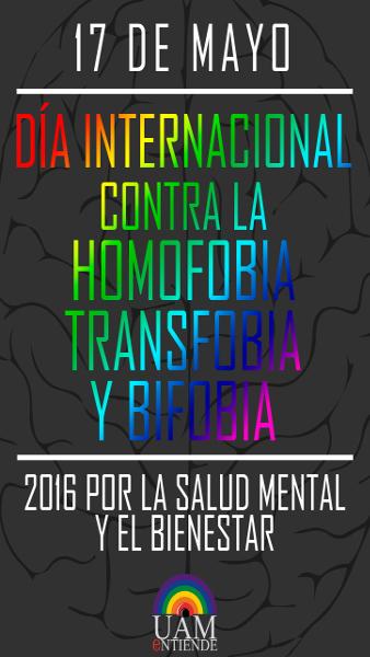 Cartel_Día internacional contra la Homofobia, Transfobia y Bifobia 2016 por la salud mental y el bienestar_2016