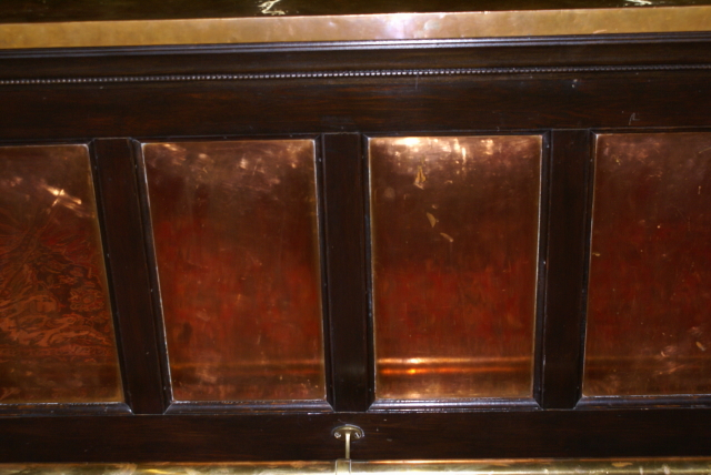 Brass and copper paneled front bar