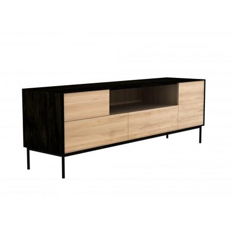 meuble tv blackbird 1 porte 1 porte battante 2 tiroirs chene et noir d ethnicraft