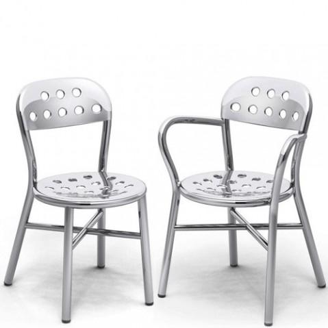 chaise pipe aluminium poli de magis