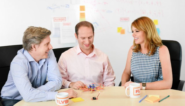 Flybrix cofounders: Robb Walters, Amir Hirsch (CEO) and Holly Kasun (COO)
