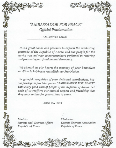 Ambassador for Peace proclamation