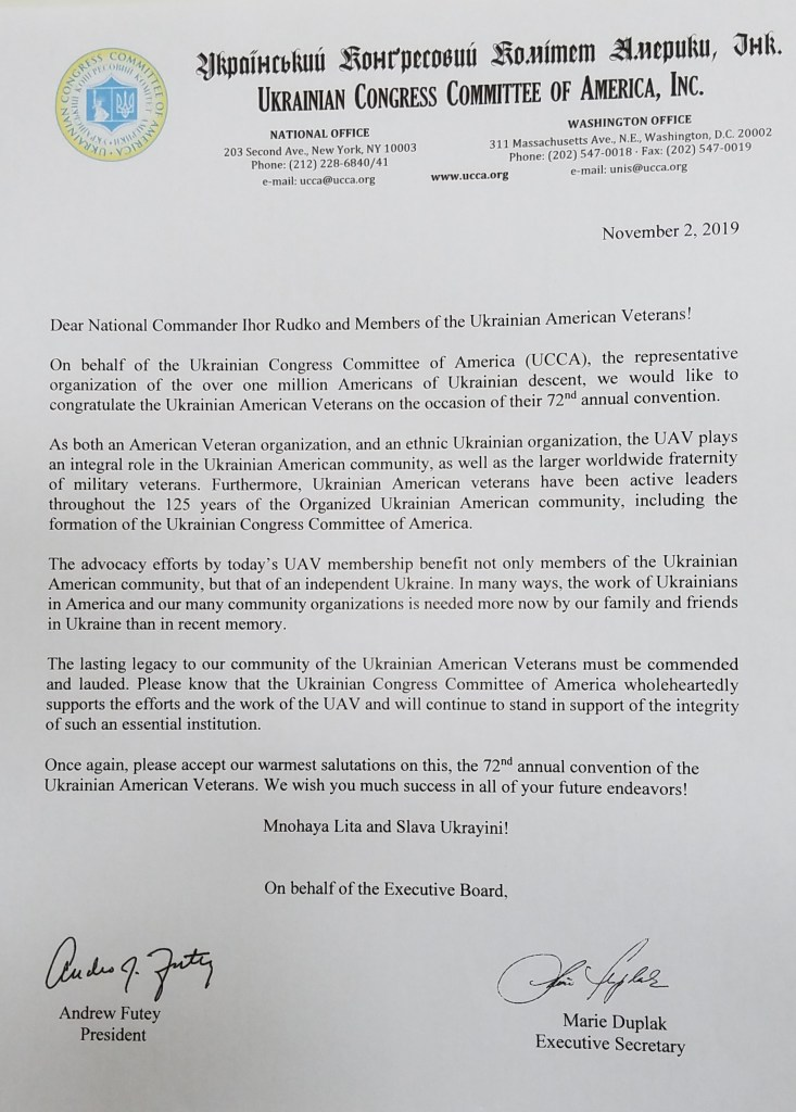 Letter from UCCA congratulating the UAV on the occasion of its 2019 Convention