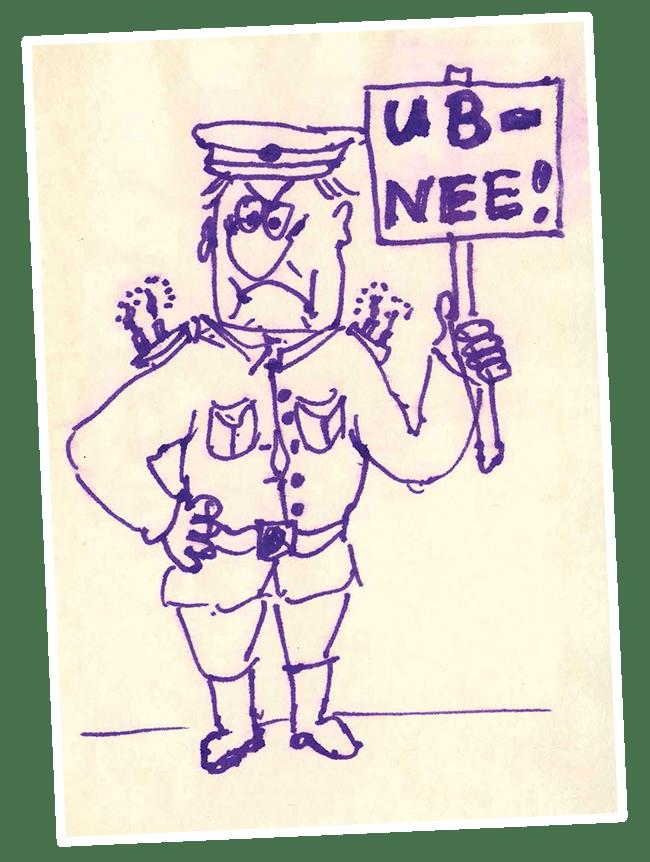 UB - NEE ! (Zeichnung von Dirk Moldt)