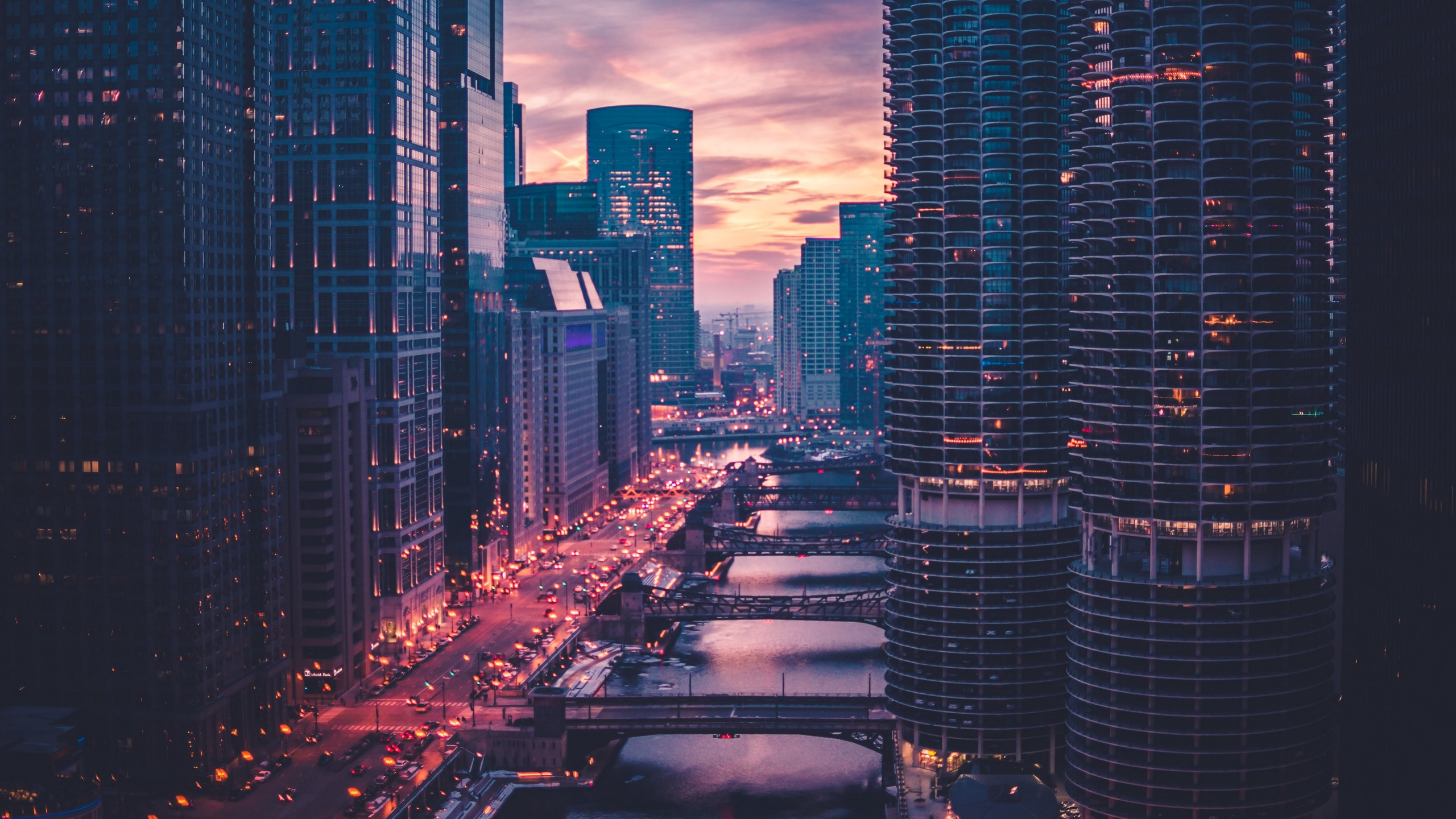 Wallpapers Hd Anime Wallpaper Of Chicago Skyscrapers Bridges Traffic