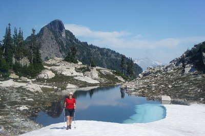 Hiking back to camp we encountered this beautiful tarn, Mt Sheer in background