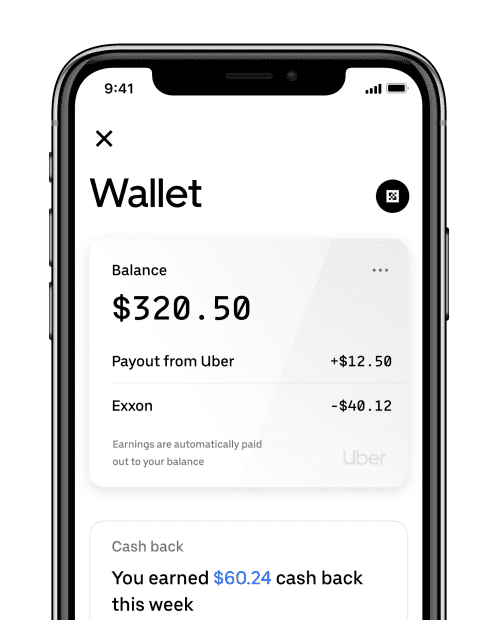 Sample Uber Wallet (source: Uber)