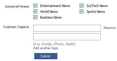 Eligiendo que temas seguir en Facebook con Google News