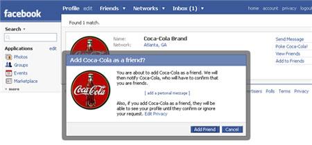 Sumando marcas como amigos en Facebook
