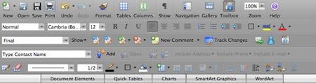 menu del word 2008 para mac