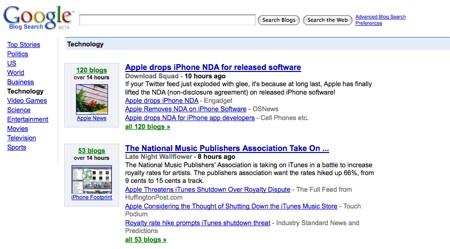 buscador-de-blogs Google Blogsearch cambia de modelo y compite con techmeme