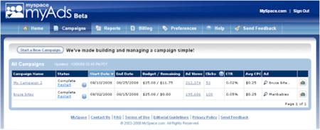 Publicidad en MySpace con MyAds crea tu campaña
