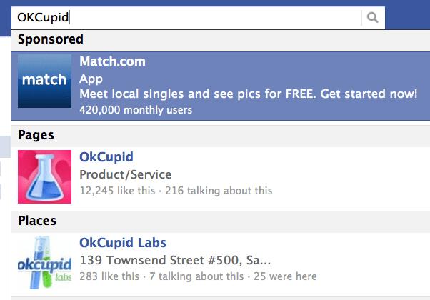 resultados patrocinados facebook facebook sponsored search