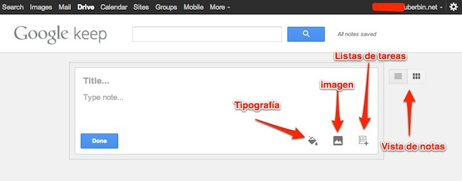 google Keep en la web