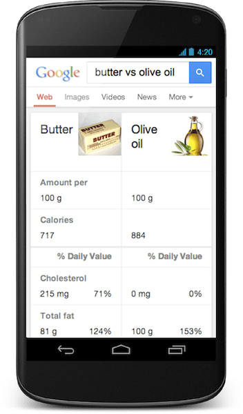 Google Hummingbird mobile  Butter v Olive Oil