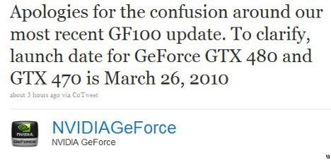 Date de lancement pour les GeForce GTX 480 et GTX 470