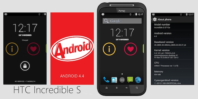 Unofficial CM11 Android 4 4 KitKat ROM For HTC Incredible S