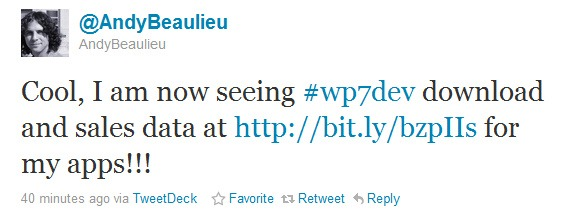 Tweet from a WP7 developer