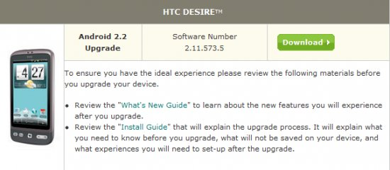 HTC Desire US Cellular gets Froyo