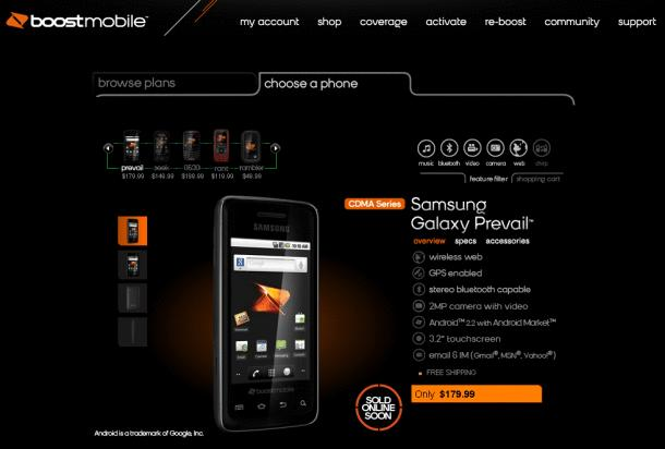 samsung-prevail-listed-on-boost-mobiles-site