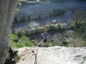 Photo of climbing abseilling