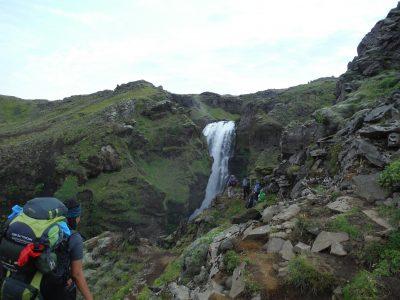 On the waterfall-ful Fimmvörðuháls trail, A Robertson
