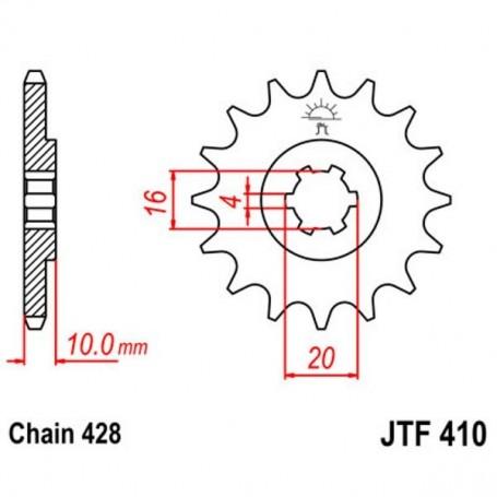 Piñón de Salida Hyosung GT125 Comet 09 JT JTF41014 14 dientes
