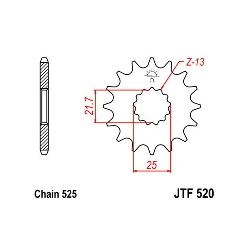 Piñón Salida Suzuki GSX-R600 K6,K7,K8,K9 06-10 JTF52016 16
