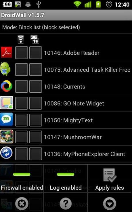Droidwall, aplicacion para control de datos en Android