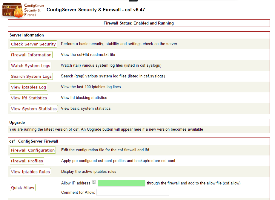 Install and Configure CSF ConfigServer Firewall