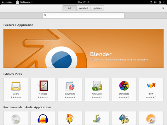 gnome software screenshot on fedora