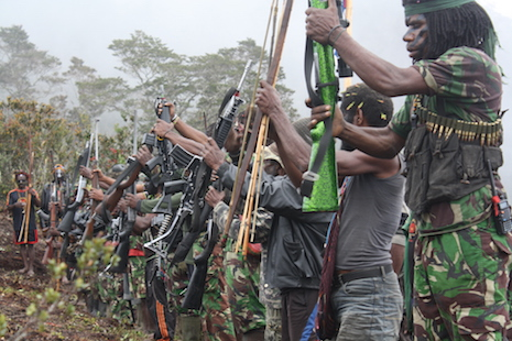 <p>Armed fighters from the Free Papua Organization in Lanny Jaya district, a stronghold of the separatist group, which on Friday declared all-out war against Indonesian security forces and non-Papuan civilians <em>(Jakarta Globe Photo/Banjir Ambarita)</em></p>