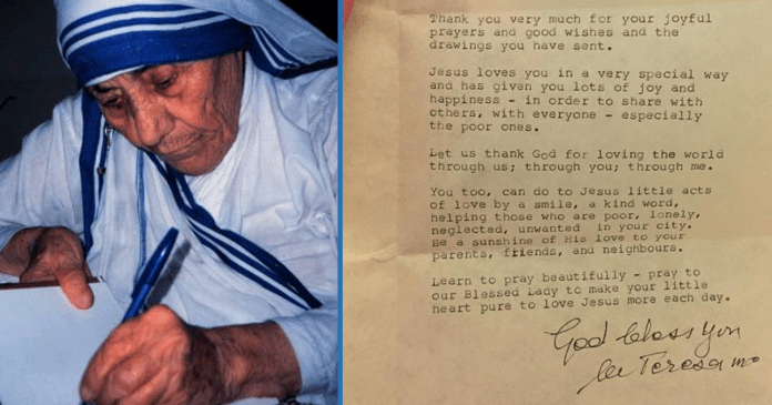 A 9-Year Old Girl Wrote Mother Teresa A Letter: Here's The Beautiful ...