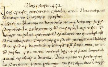 Detail from UCD-OFM Ms A13, Annals of the Four Masters, entry for 432 AD recording St. Patrick's mission to Ireland