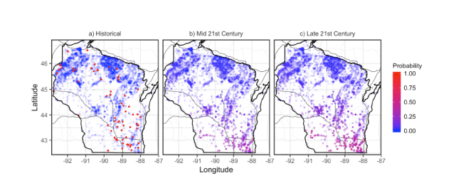 Maps of projected fish kills in Wisconsin lakes