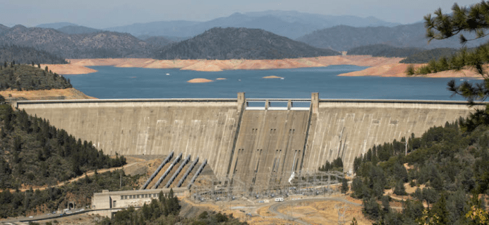 Shasta Dam with the lake behind in a drought