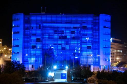 لبنان مضاء بالأزرق في الذكرى الـ 70 للأمم المتحدة