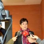 La presidenta de Reporteros Sin Fronteras, Malén Aznárez, atiende a los medios