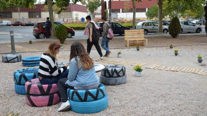 Ejemplo de intervención de urbanismo táctico en Caminos © Gabinete de Comunicación UCLM