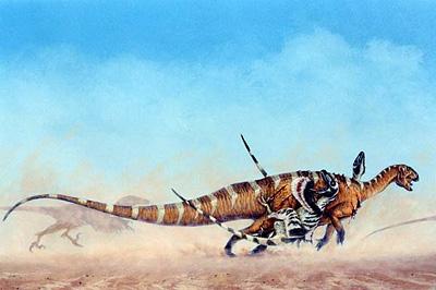 Deinonychus attack a tenontosaur, by Michael Skrepnick