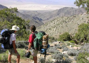 Jim&Jason Sexton looking down w-drainage of Bull Cyn (Granite Mtns) towards Kelso Dunes