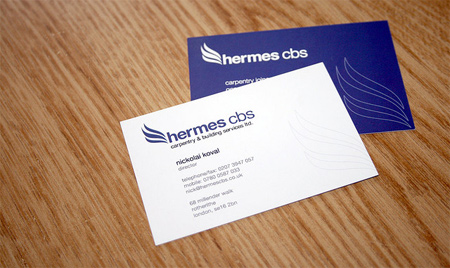 hermes cbs, carpentry London, business card, logo type, stationary, identity, http://www.hermescbs.co.uk