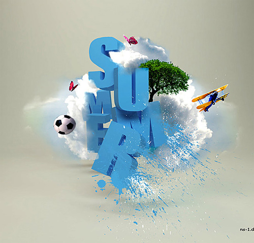 3d Typography Designs - Summer Blast