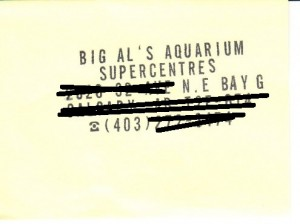Bad business cards 01 - Big Al's Aquarium