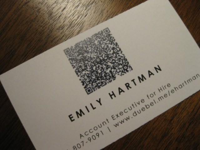 Ucreative 10 ways to use qr codes in business card design emily hartmans business card reheart Images