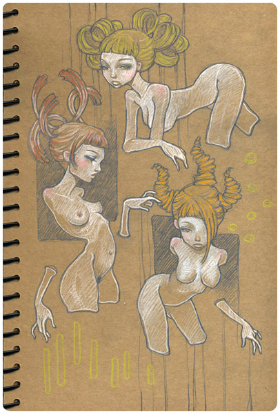 Sketchbook Illustration by Audrey Kawasaki via YouTheDesigner.com
