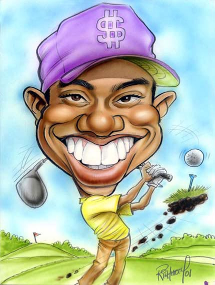 Tiger Woods - caricature by Tom Richmond