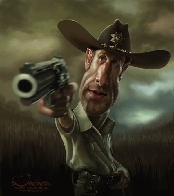 "Rick Grimes from ""The Walking Dead"" - Caricature by Alex Novoseltsev"